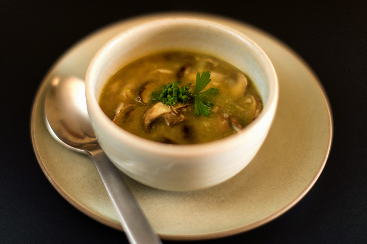 Soup Recipe: Young Garlic Soup with Wild Mushrooms