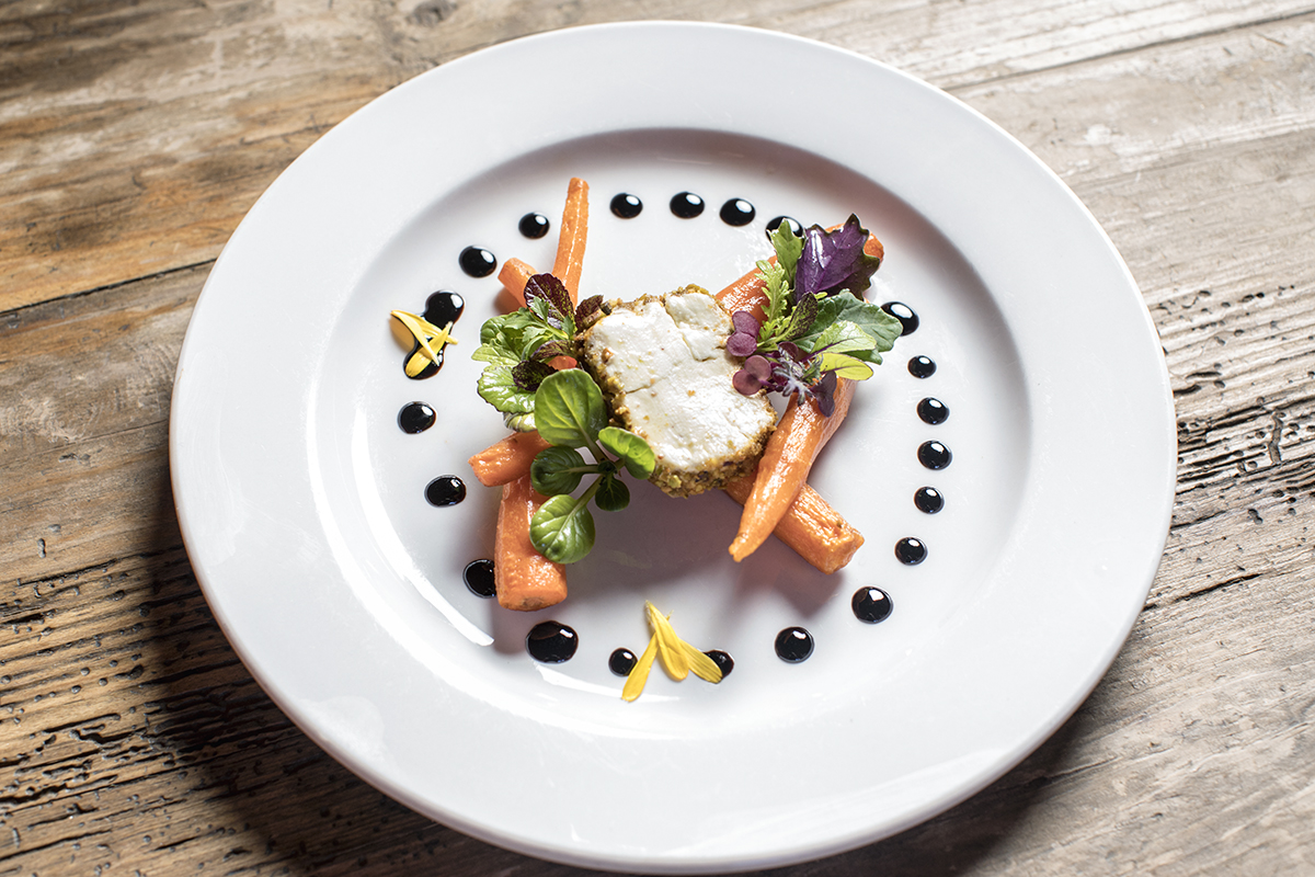 Roasted Carrots with Pistachio Crusted Sheep's Milk Cheese from David Cohen