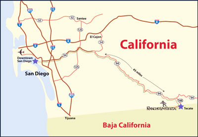 Getting To The Ranch Rancho La Puerta - Us map san diego