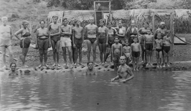"""Edmond Szekey (foreground, in the river) leading one of his health-retreat groups during the mid-1930s. This photo was not taken at Lake Elsinore, California (subject of this month's """"Origins of the Ranch"""")...but probably shows his riverside camp in Rio Corona, Mexico--one year after Lake Elsinore."""
