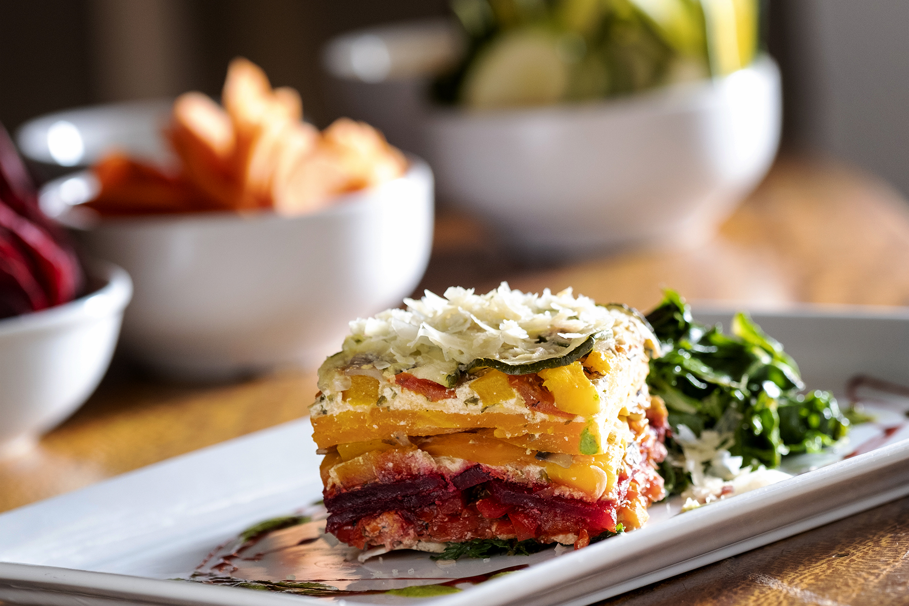 Rainbow Lasagna with Vegetarian Lentil Bolognese Sauce*