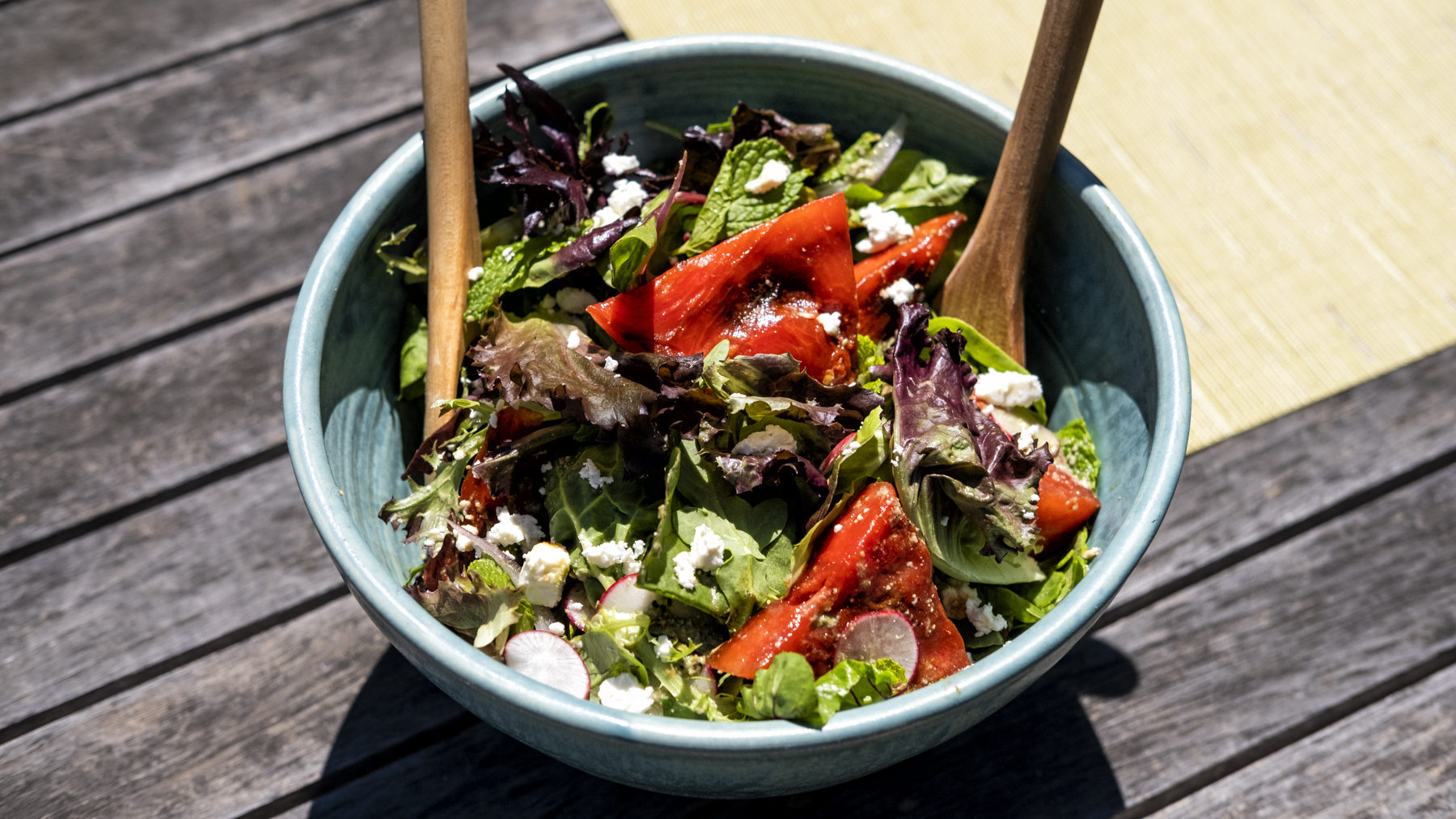 Grilled Watermelon & Radish Salad with Green Goddess Dressing