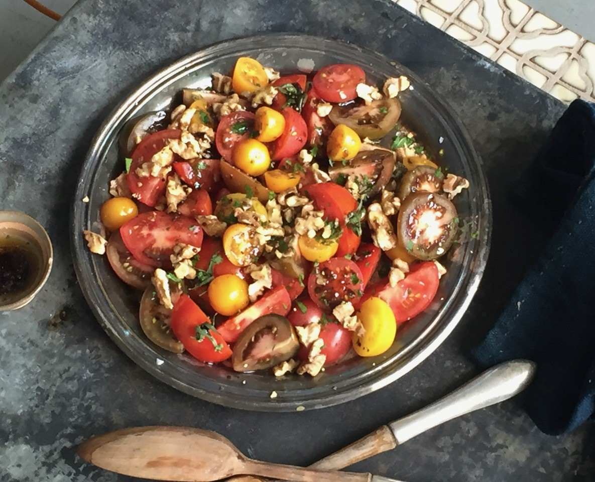 Tomato and Walnut Salad with Pomegranate Molasses