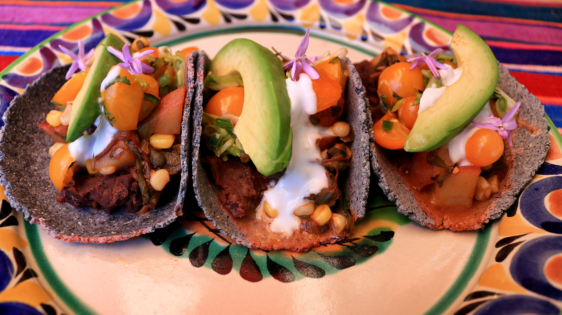 Purslane and Black Bean Tacos with Salsa Fresca.