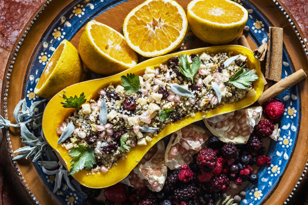 Stuffed Butternut Squash with Berries and Cranberry Sauce