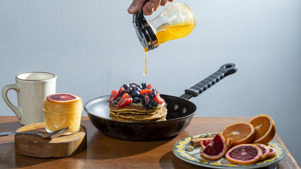 Sweet Potato Pancakes with Blood Orange Curd