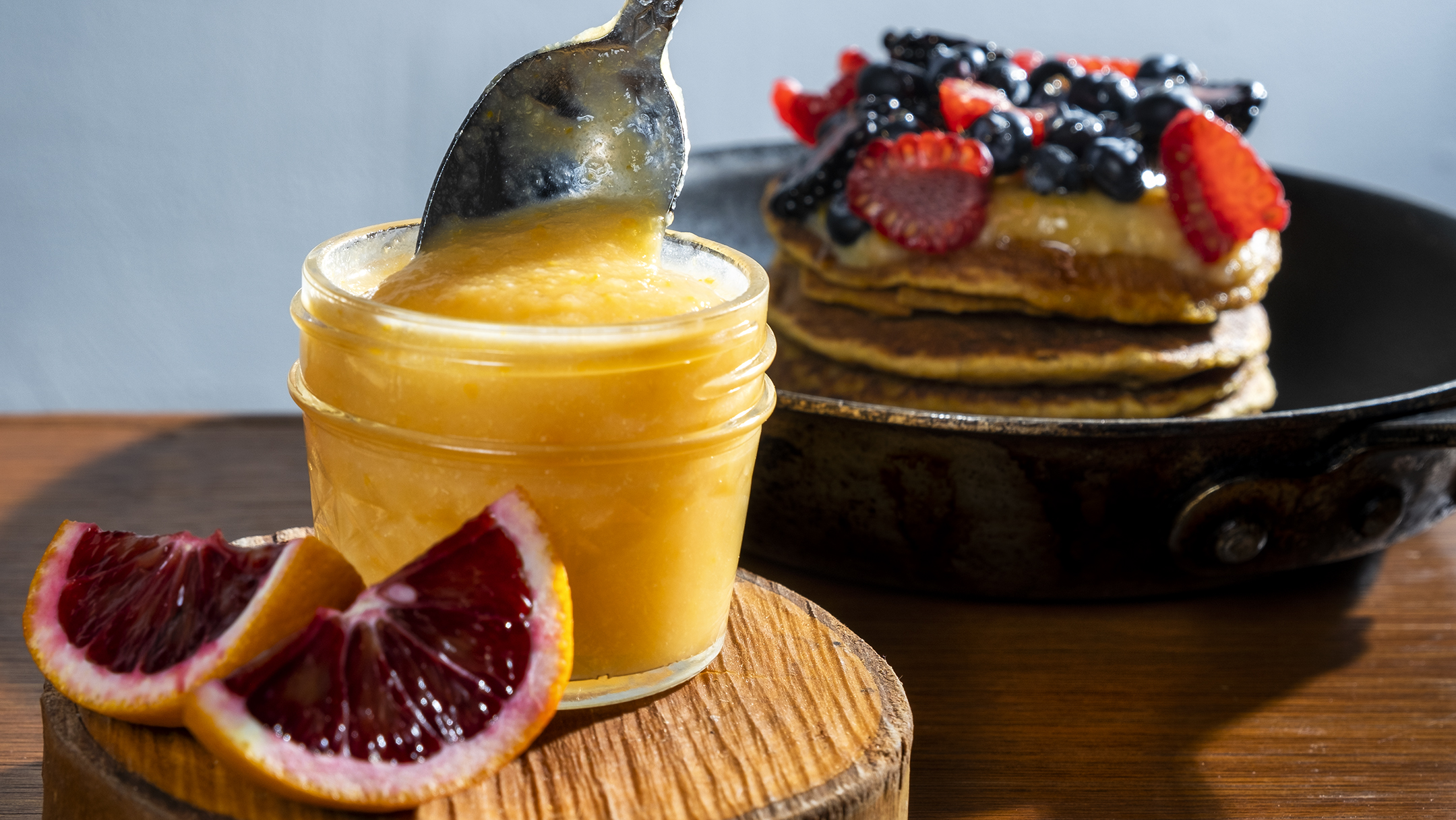 curd recipe, blood orange curd, sweet potato pancakes